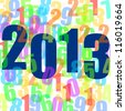 2013 new years illustration with numbers - stock photo