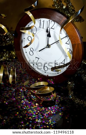 2013 New Years Party Background. Clock and festive tinsels - stock photo