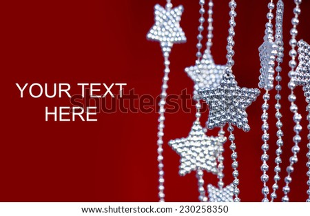 2015 New Years Party Background. Stars garland on red background - stock photo