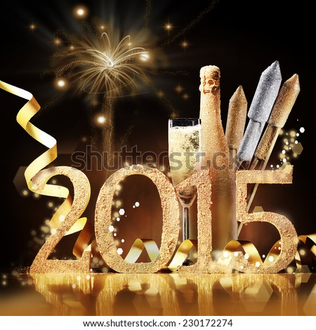 2015 New Yeas Eve celebration still life in elegant gold with the date, a flute and bottle of champagne and rockets in front of a brown background with a pyrotechnic display of bursting fireworks - stock photo