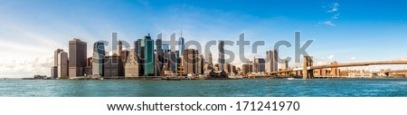 New York City Skyline, Manhattan and Brooklyn bridge view - stock photo