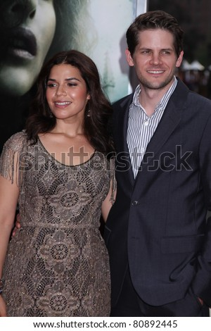 NEW YORK, NY - JULY 11: Ryan Piers Williams and America Ferrera attend the   premiere of 'Harry Potter And The Deathly Hallows: Part 2' at Avery Fisher Hall on July 11, 2011 in New York City.