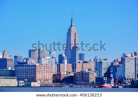 NEW YORK, UNITED STATES - DECEMBER 29, 2015 - vview of New York from New Jersey