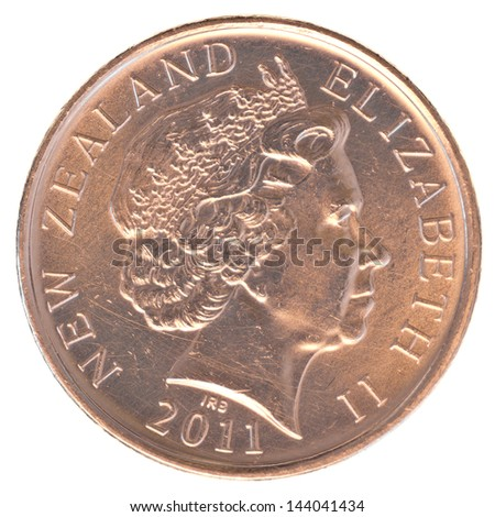 10 New Zealand cents coin isolated on white background - stock photo