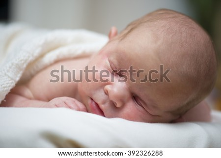 Newborn baby is sleeping