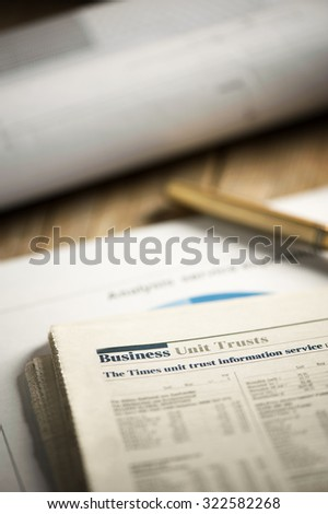newspaper business page - stock photo
