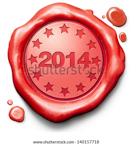 2014 next new year red label icon or stamp
