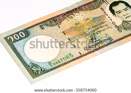 100 ngultrum bank note of Bhutan. Ngultrum is the national currency of Bhutan