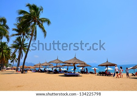 Nha Trang beach. Nha Trang is a coastal city in Vietnam, famous with beautiful beaches and bays - stock photo