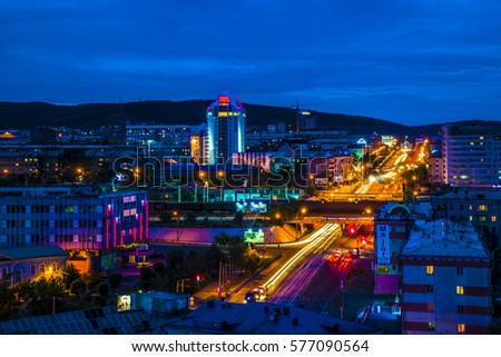 23.06.2014 - night of Ulan-Ude from the roof of one of the highest buildings in the city. 23 June 2014.