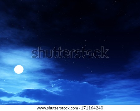 night sky full of cloud with the moon. - stock photo