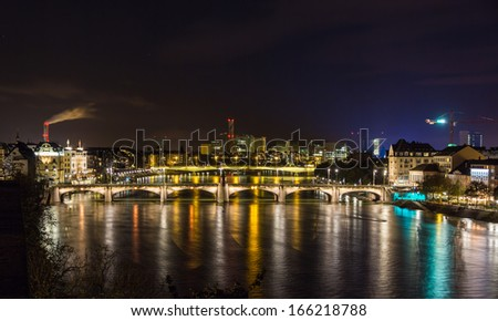 Night view of Rhine embankment in Basel - Switzerland - stock photo