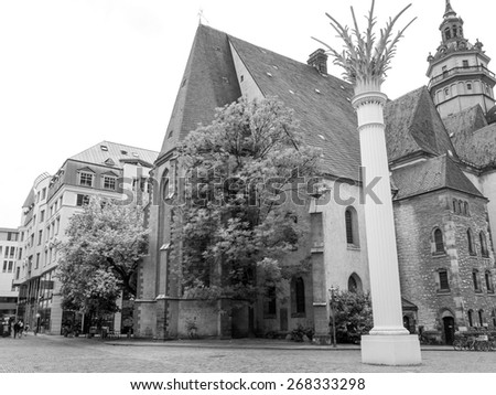 Nikolaikirch St Nicholas Church in Leipzig Germany where Johann Sebastian Bach performed the world premiere of St John Passion in black and white - stock photo