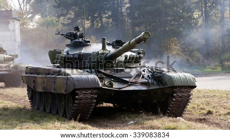 Nis, Serbia - November 14, 2015: Celebration of the Army of Serbia in Nis, display and combat techniques tank M-84 (T-72). - stock photo
