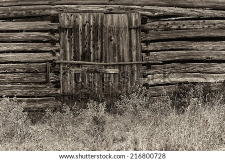 """No Entry"" Doors to an Ottawa Valley ""String Barn"". - stock photo"