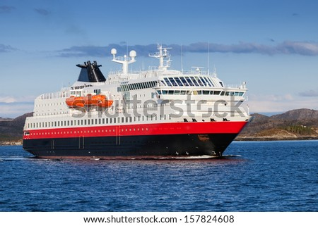 Norwegian passenger cruise ship at the sea - stock photo