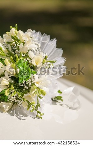 Nosegay, Bridal bouquet with white flowers - stock photo