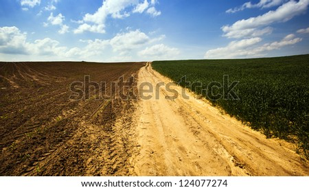not asphalted road - stock photo