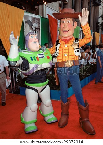 "13NOV99:  Characters BUZZ LIGHTYEAR (left) & WOODY at the world premiere of Disney/Pixar's ""Toy Story 2"" at the El Capitan Theatre, Hollywood.   Paul Smith / Featureflash - stock photo"