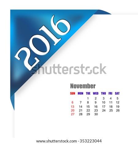 2016 November calendar - stock photo