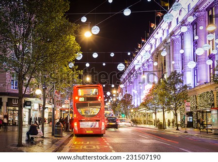 13 November 2014 Oxford Street, London, decorated for Christmas and New 2015 Year - stock photo