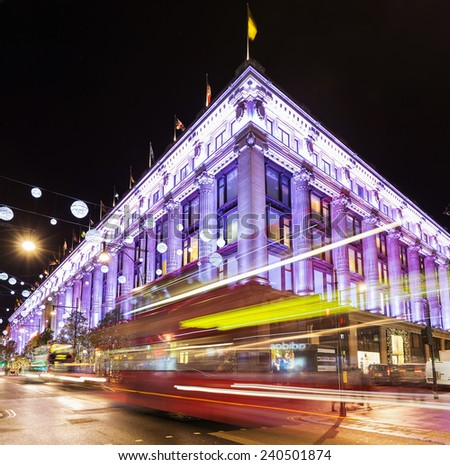 13 November 2014 Selfridges, Oxford Street, London, decorated for Christmas and New 2015 Year - stock photo
