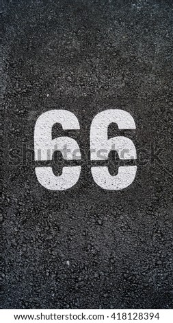 Number 66 - stock photo