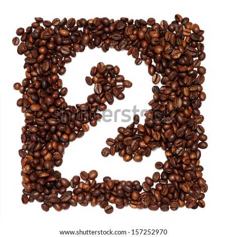 2, Number From Coffee Beans On a White Background - stock photo
