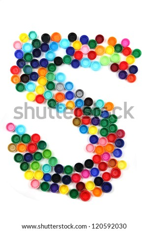 5 - number from the plastic caps isolated on the white background