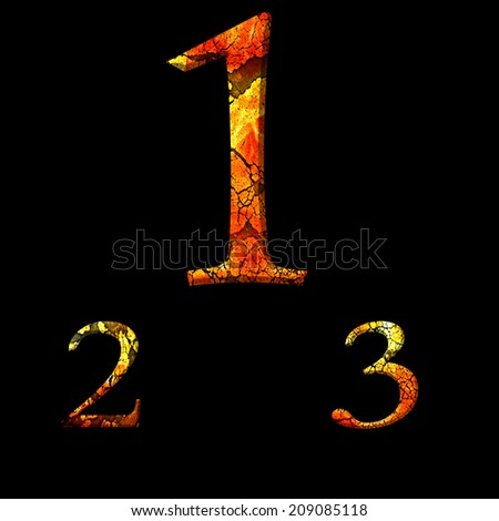 1 2 3 number in fire cracked - stock photo