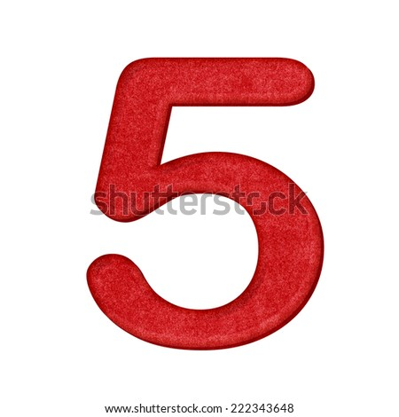 5 Number in Paper craft texture isolated on white background