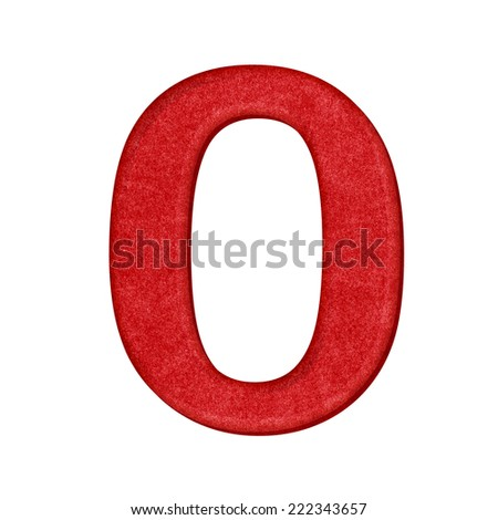 0 Number in Paper craft texture isolated on white background