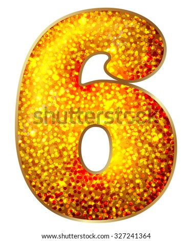 6 number made of shiny material, isolated on white  - stock photo