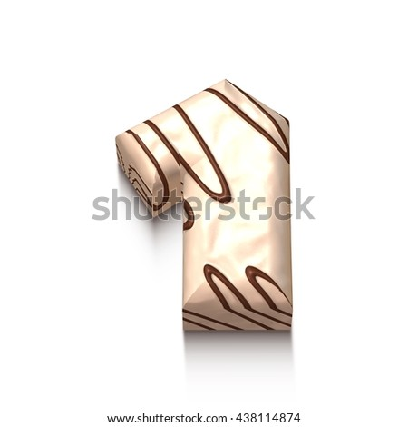 1 number of white chocolate with brown cream in 3d rendered on white background. - stock photo