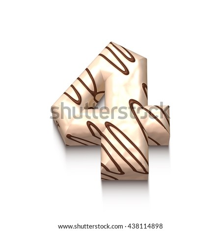 4 number of white chocolate with brown cream in 3d rendered on white background. - stock photo
