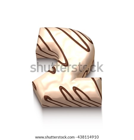 2 number of white chocolate with brown cream in 3d rendered on white background. - stock photo