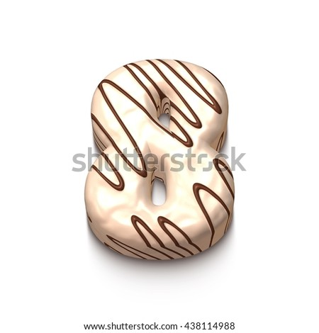 8 number of white chocolate with brown cream in 3d rendered on white background. - stock photo