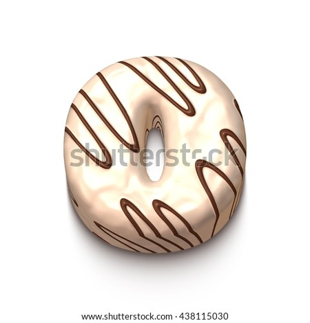 0 number of white chocolate with brown cream in 3d rendered on white background. - stock photo
