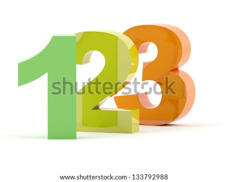 123 numbers in color