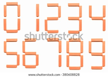 Numbers or digits isolated over white background vintage - stock photo