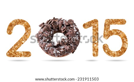 2015 numeric from natural sugar and donut topped by shredded chocolate isolated on white with path