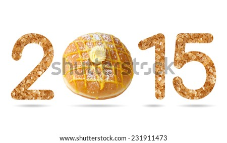 2015 numeric from natural sugar and donut topped by sugar icing and lemon cream isolated on white with path