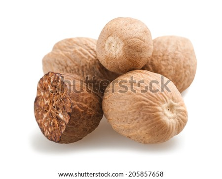 nutmegs fruits  isolated on a white background - stock photo