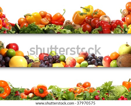 3 nutrition textures (fruits and vegetables isolated on white) - stock photo