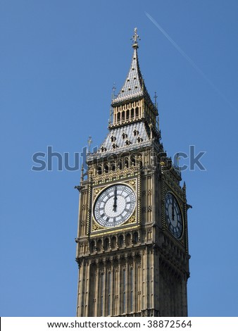12 o'clock on Big Ben, London UK - stock photo