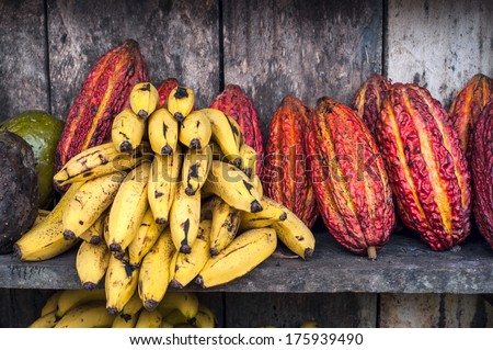?ocoa fruits on the counter of the Latin America street market, Ecuador - stock photo