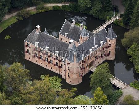 7 Oct 2016 Apeldoorn Netherlands Aerial View Of Medieval Hunting Lodge Royal