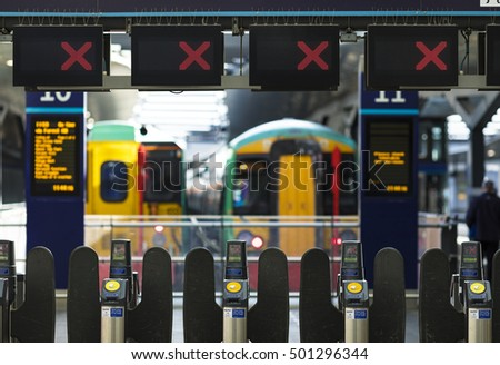 18 OCT 2016, LONDON, UK - Closed rail barriers at London Bridge railway station