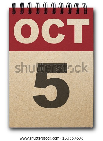 5 October calendar on recycle paper