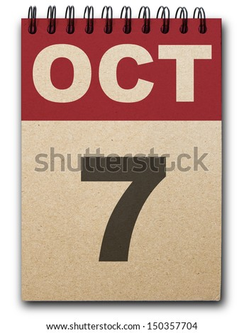 7 October calendar on recycle paper